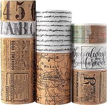 Vintage Washi Tape Set 8 Rolls - Antique Japanese Masking Tapes, Decorative for Scrapbooking Supplies, Bullet Journals, Pl...