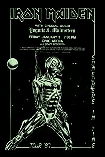 Innerwallz Iron Maiden Somewhere in Time Tour 1987 Retro Art Print — Poster Size — Print of Retro Concert Poster — Features Paul Di'Anno, Dave Murray, Dennis Stratton, and Clive Burr.