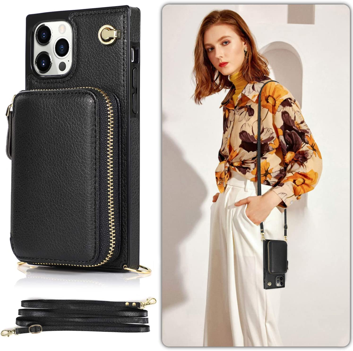LUVI Wallet Card Holder for iPhone 12/iPhone 12 Pro 6.1 inch Case with Crossbody Neck Strap Lanyard Purse Handbag Shoulder Strap Protection Cover PU Leather Kickstand Stand Case Black