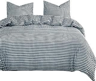 Wake In Cloud - Black Plaid Comforter Set, Buffalo Check Gingham Geometric Checker Pattern Printed in Black White, Soft Microfiber Bedding (3pcs, Queen Size)
