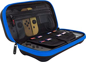 ButterFox Compact Switch Case for Nintendo Switch, Fits Slim Wall Charger AC Adapter, Large Accessories Pouch for Nintendo Switch, 9 Game and 2 Micro USB Holders - Blue/Black
