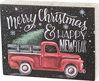 Primitives by Kathy Box Sign Merry Christmas and Happy New Year Decor