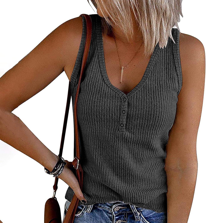 NIANTIE Women's V-Neck Undershirt Sleeveless Button-Down Casual Tank Top Shirt T-Shirt