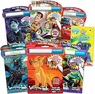 Imagine Ink Coloring Book Assorted Set for Boys (Bundle Includes 6 Different No Mess Coloring Books with Bonus Stickers)