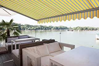ADVANING 13'X10' Manual Patio Retractable Awning | Classic Series | Premium Quality, 100% Acrylic UV Sun Shade Awning, Color: Yellow & Gray Stripes, MA1310-A225H