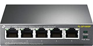 TP-Link TL-SF1005P 5-Port 10/100 Mbps Ethernet PoE Switch (4 PoE Ports, 58 Watt Budget, No Configuration Required)