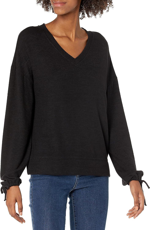 Daily Ritual Women's Cozy Knit Tie Sleeve V-Neck Sweatshirt