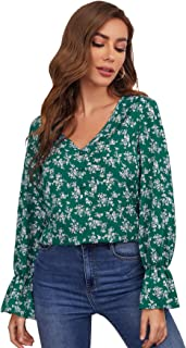 SheIn Women's Long Flounce Sleeve V Neck Blouse Tops Ditsy Floral Print Shirt