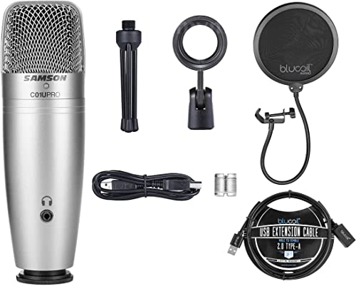 lowest Samson USB Condenser Microphone C01U Pro with Zero Latency Monitoring for Windows, Mac, iPad Bundle with Blucoil Pop Filter Windscreen, and 3-FT USB 2.0 Type-A online Extension 2021 Cable outlet sale