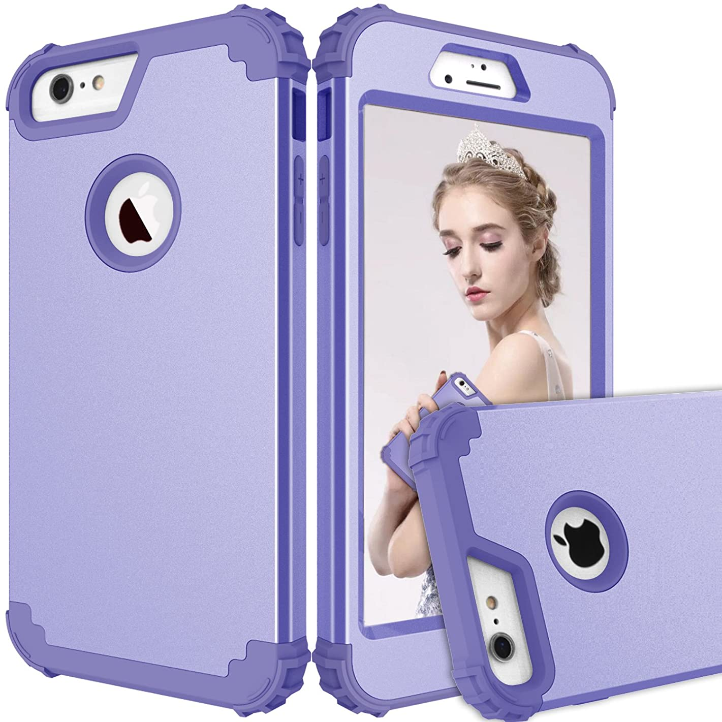 iPhone 6S Plus Case, iPhone 6 Plus Case, Dooge 3in1 Impact Heavy Duty Armor Defender Full-Body Shockproof Anti Slip Protective Cover with Silicone&Hard PC Bumper for iPhone 6 Plus/6s Plus Lavender