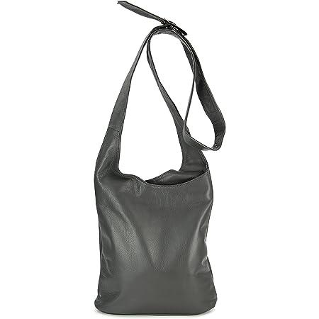 Belli Cross Bag Classic italienische Umhängetasche Damen Ledertasche Handtasche Cross Over Bag in grau - 24x28x8 cm (B x H x T)