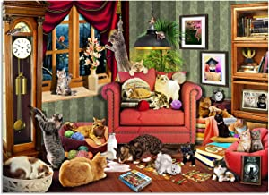 JoyMountain Peak Cats Jigsaw Puzzles for Adults 1000 Pieces - Cats in a Room - Premium Quality 1000 Piece Puzzles for Adults, Non Glare Finish, No Puzzle Residue with Poster - Made in USA