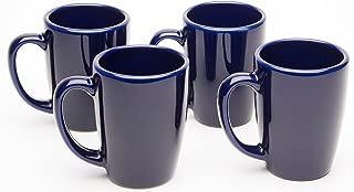 American Mug Pottery Ceramic Bistro Style Coffee Mug, Made in USA, Cobalt Blue, 14 oz - Pack of 4