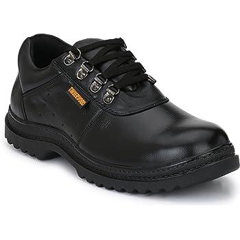Fashion Tree Men's Timberwood Genuine Leather Steel Toe Safety Shoe TW12A, 10 (Black)