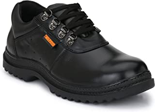 Fashion Tree Timberwood Genuine Leather Steel Toe Safety Shoe For Men TW12A (Black, Size: 9)