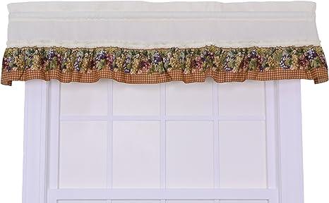 Ellis Kitchen Collection Tuscan Hills Grape Frill Valance Curtains Natural Amazon De Home Kitchen