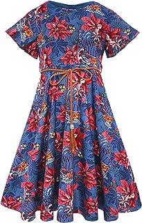 BONNY BILLY Girl's Flutter Sleeve Holiday Dress with Braided Belt