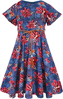 Bonny Billy Girl's Flutter Sleeve Holiday Dress with Braided Belt