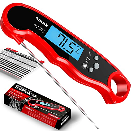 SMAK Digital Instant Read Meat Thermometer - Best Thermometer With Metal Backing