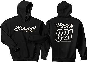 JUST RIDE Braaap! His or Hers Motocross Hoodie Sweatshirt Number Plate Custom Personalized