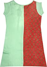 K&U Girl's Indian Ethnic Traditional Kurti festive Party Wear Green & Red Asymmetrical Sleeveless
