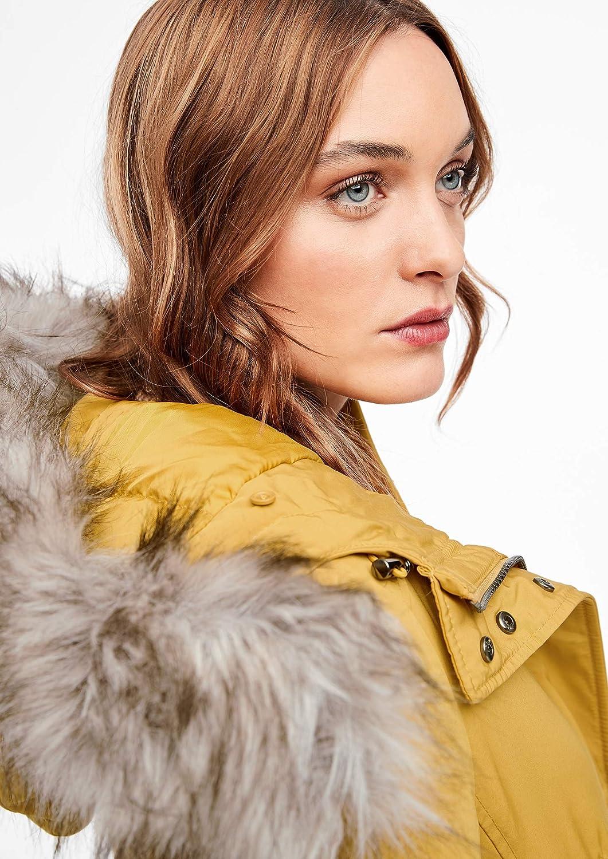 s.Oliver RED Label Damen Wintermantel mit Fake Fur Gelb (Curry 1543)