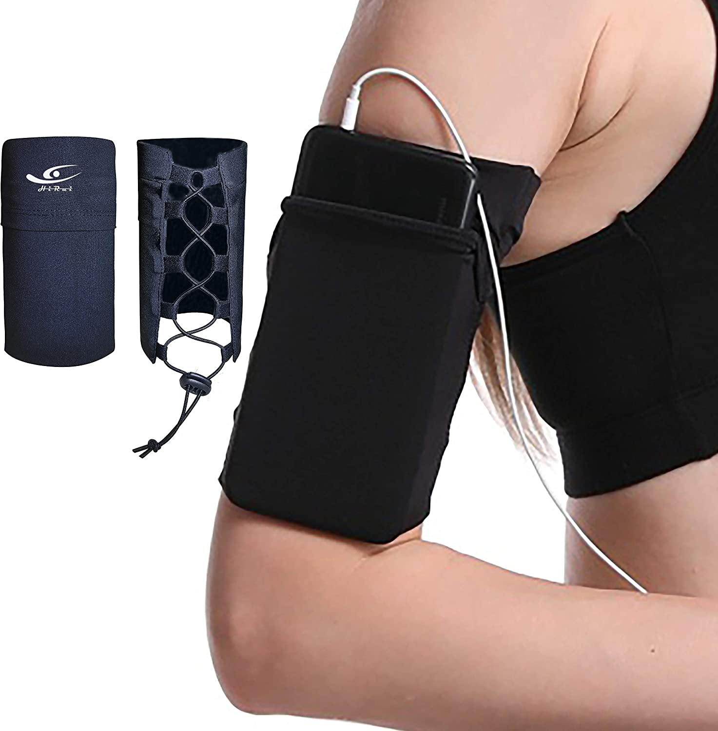 HiRui Running Armband Sleeve, Adjustable Universal Sports Armband Cell Phone Holder for Exercise Workout, Compatible with iPhone 12/12Pro/Mini iPhone 11/11Pro Samsung Galaxy All Phones (Black)