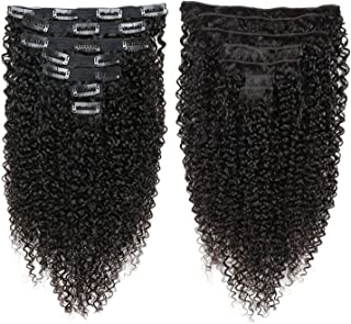 Indian Afro Curly Weave Remy Hair Clip In Human Hair Extensions Natural Color Full Head 10Pcs 120G,10 inches,120g/Set
