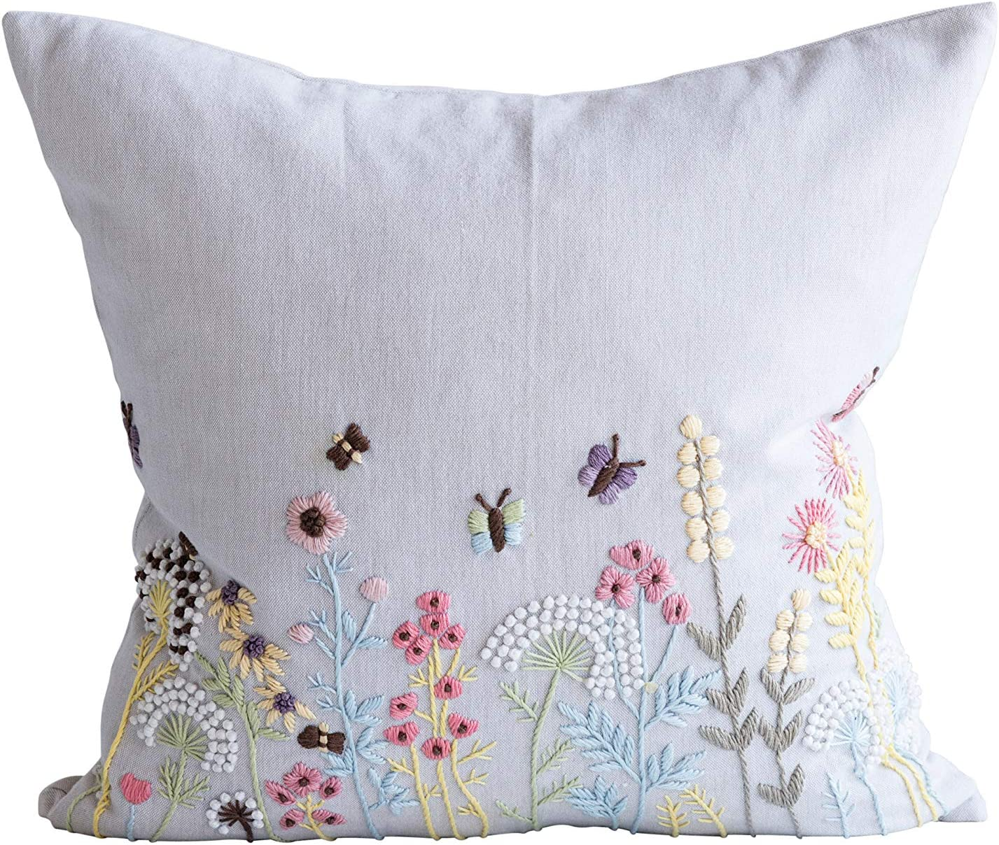 Creative Co-Op Square Jacksonville Mall White Cotton Embroidered Multi Ultra-Cheap Deals Pillow with