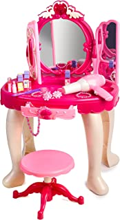 Baby's First Head Gear Pink Princess Make Up Vanity Table for Little Girls with Sound and Light