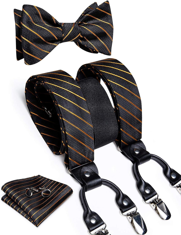 DiBanGu Men's Clip Suspender and Self Bow Tie Pocket Square Cufflinks Set Adjustable Elastic Y-Shape Braces