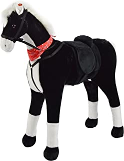 Pink Papaya Pluchen XXL 100 cm Paard - Amadeus - Bijna Levensgroot Speelgoed Paard om op te Rijden - Staand Paard XXL - Sp...