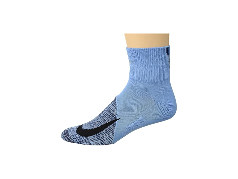 Nike Elite Lightweight Quarter Running Socks (Cobalt Pulse/Neutral Indigo/Black) Quarter Length Socks Shoes
