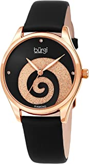 Burgi Women's Watch with Diamond Markers - Sunray Dial with Sparkling Crystal Powder Swirl - Satin Over Genuine Leather Skinny Strap BUR201