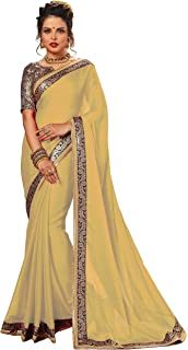 Nivah Fashion Women's Chiffon Embroidery Work With Diamond's Material Saree