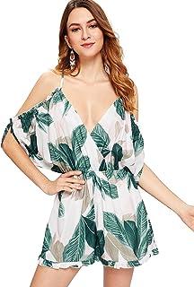 37bcbb0774 Romwe Women s Cold Shoulder Batwing Sleeve Deep V Neckline Overall Palm  Leaf Graphic Short Romper Jumpsuit