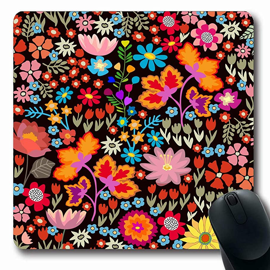 JAMRON Mousepad Oblong 9.8x11.4 Inches Botanical Brown Spanish Small Autumn Flowers Pattern Dog Asters Bohemian Bouquets Design Non-Slip Rubber Mouse Pad Laptop Notebook