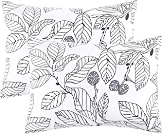 Wake In Cloud - Pack of 2 Pillow Cases, 100% Cotton Pillowcases, Black Tree Branches Leaves Pattern Printed on White (Standard Size, 20x26 Inches)