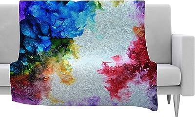 Kess InHouse EBI Emporium Forest Through The Trees 5 Teal White Throw 40 x 30 Fleece Blanket