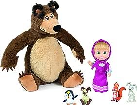 Masha and the Bear 109301012 Set Plushbear + Doll + Animals