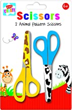 Kids Create - Kids Scissors - Animal Print | Arts and Craft Scissors | Cute School Stationery Supplies for Kids | 2 Pack