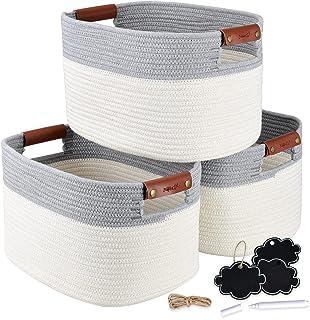 NaturaClo Cotton Rope Storage Basket Set of 3 | Decorative Woven Basket W/Leather Basket Handles & Chalk Tags |Woven Baske...