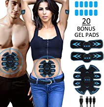 Eon Concepts Ultimate Abs Stimulator Muscle Toner Trainer Rechargeable with 20 Extra Gel Pads | EMS Abdominal Toning Belt for Men & Women | Arm & Leg Trainer | Portable Office Home Device