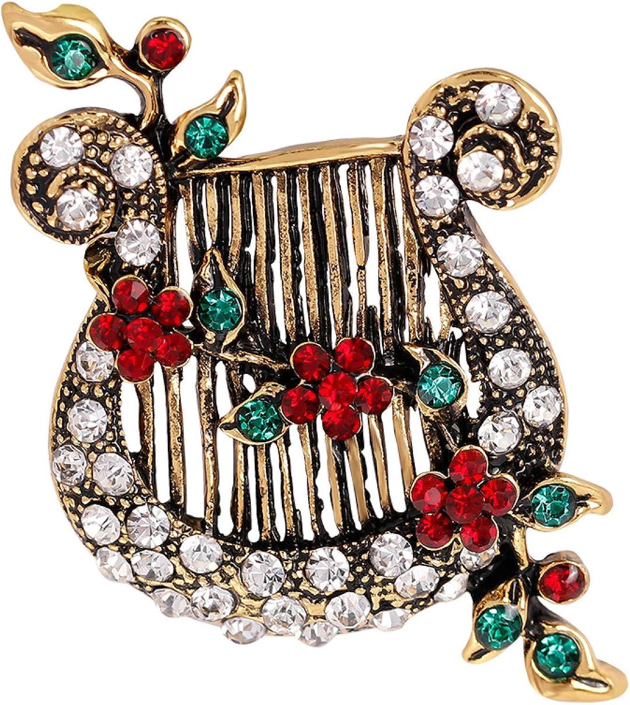 Women's Vintage Flower Vine Lyre OFFicial mail order Music Brooch String Instrument supreme