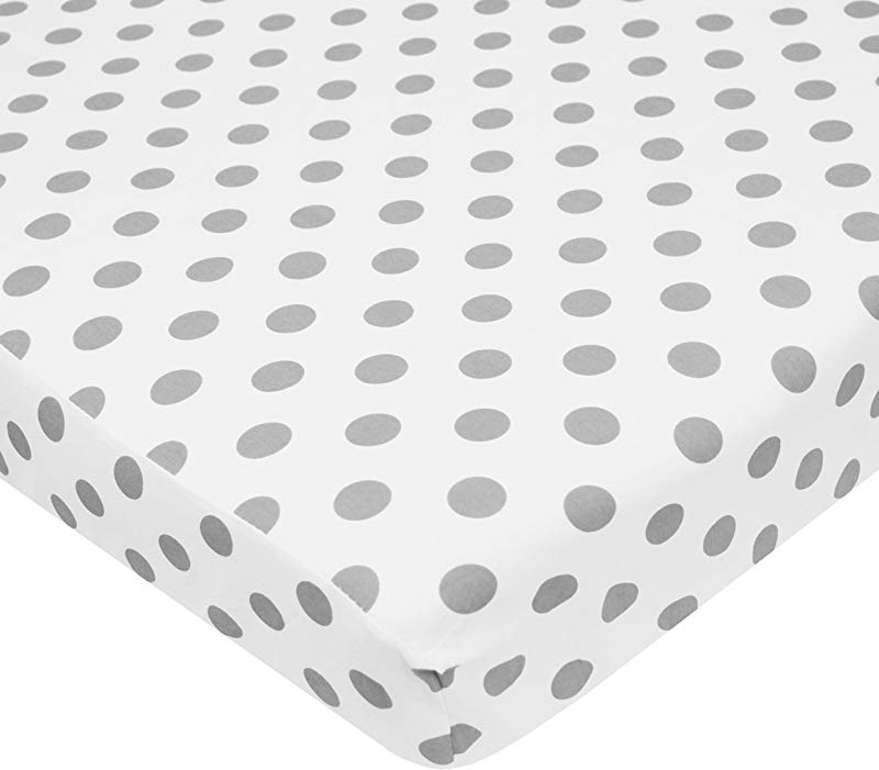 TL Care 100 Natural Cotton Percale Fitted Mini Crib Sheet White With Gray Dot Soft Breathable For Boys And Girls