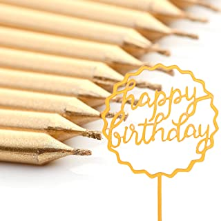 MisCSellers Gold Birthday Candles Long Candle Happy Birthday Cake Topper 12 Candles 1 Topper for Cakes