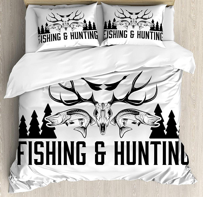Hunting Decor Duvet Cover Set Twin Size, Hunting and Fishing Vintage Emblem Design Antler Horns Mallard Pine Tree,Lightweight Microfiber Duvet Cover Sets, Black and White