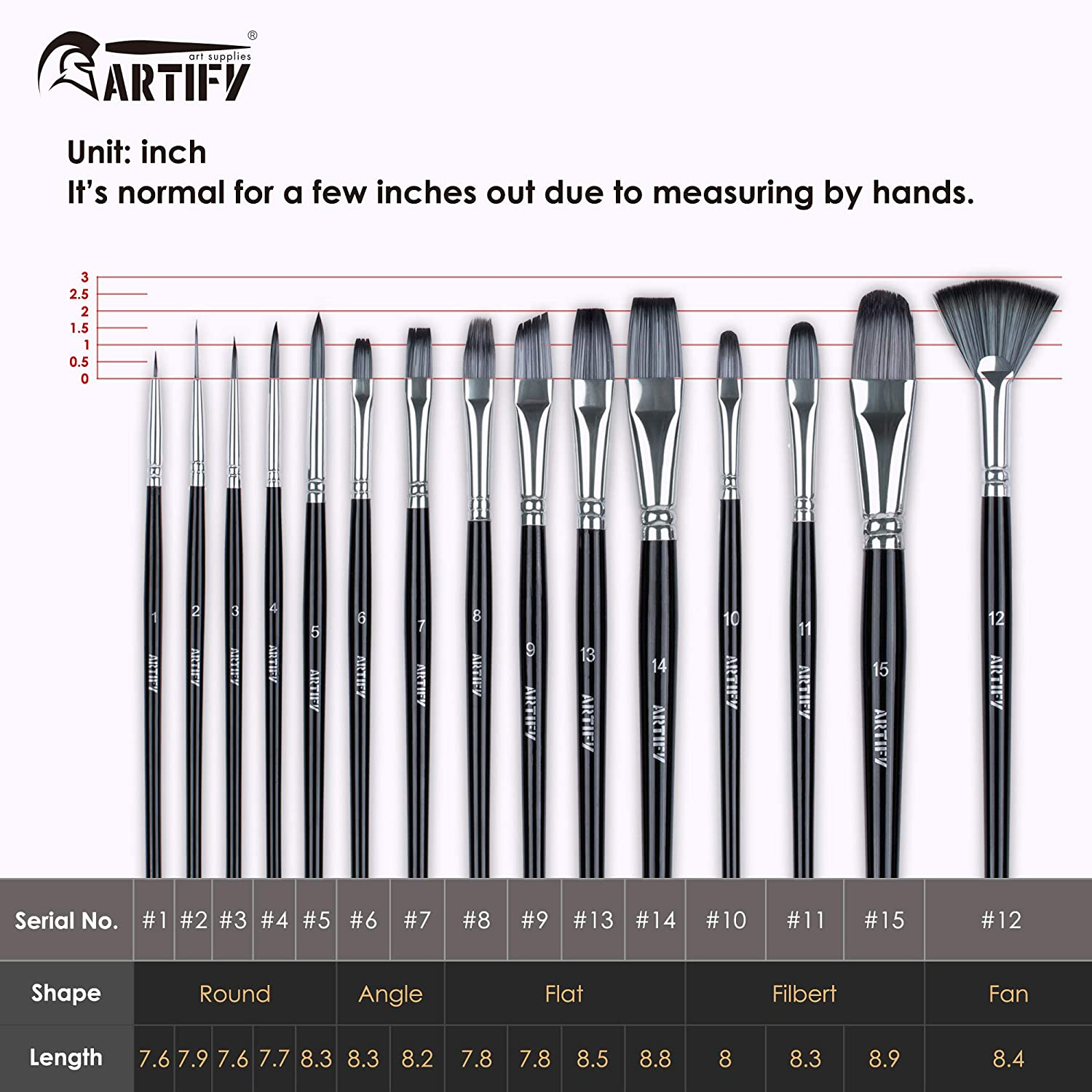 with Round Angle Artify 15 pcs Paint Brush Set- Nylon Painting Brushes for Acrylic Beginner and Professional Watercolor and Gouache Painting for Kids and Adults Flat Filbet Fan Shape,Black Oil