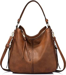 Realer Women's Faux Leather Hobo Bag Bucket Large Purse