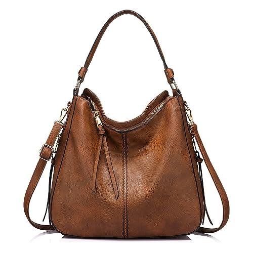 d3de212ecd Handtaschen Damen Lederimitat Umhängetasche Designer Taschen Hobo Taschen  groß Mit Quasten Braun